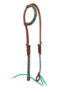 Rafter T Single Ear Headstall - Leather Plait