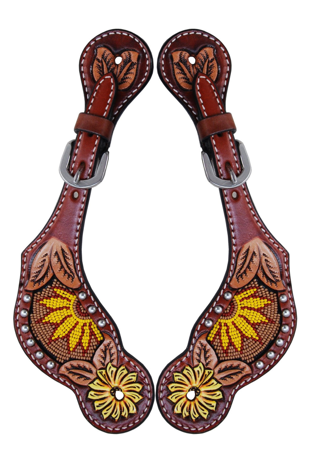 Rafter T Ladies Spur Strap - Beaded Sunflower