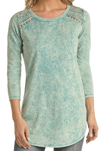 Acid Wash 3/4 Sleeve Tunic