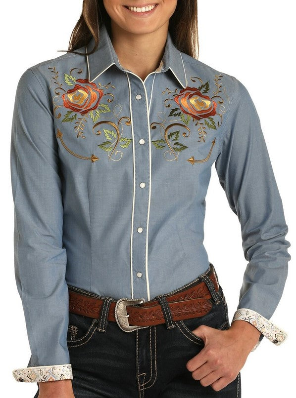 Retro Embroidered Snap Shirt