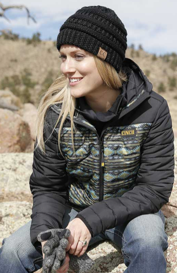 Black Aztec Quilted Jacket