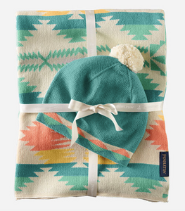 Pendleton Knit Baby Blanket with Beanie