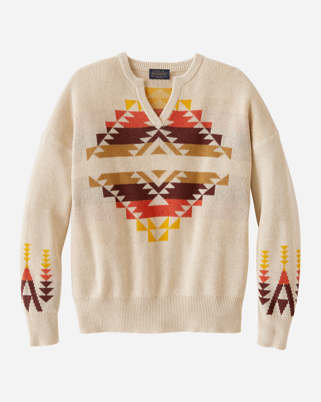 Pendleton Tan Graphic Cotton Sweater