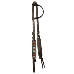 "Circle Y ""Distressed Beaded Tribal Inlay"" One Ear Headstall"