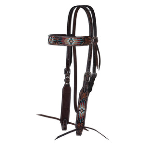 "Circle Y ""Distressed Southwestern Beaded Inlay"" Browband Headstall"