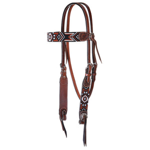 "Circle Y ""Infinity Bead Red Aztec"" Browband Headstall"