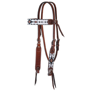 "Circle Y ""Infinity Bead Green Diamond"" Browband Headstall"