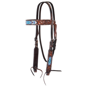 "Circle Y ""Distressed Beaded Blue Diamond Inlay"" Browband Headstall"