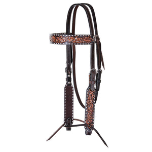 "Circle Y ""White Inlay & Buckstitch Filigree"" Browband Headstall"