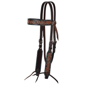 "Circle Y ""Turquoise Inlay & Buckstitch Filigree"" Browband Headstall"