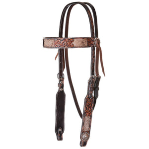 "Circle Y ""Distressed Hair On Hide"" Browband Headstall"