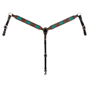 "Circle Y ""Distressed Filigree Turquoise Inlay"" Breastcollar"