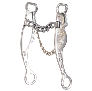 "Shank: 8""; Leverage Position: 3. Special high leverage combined with chain mouth. Very flexible and slow reacting with plenty of respect. Good for stronger, well-seasoned horses."