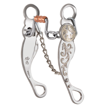 "Load image into Gallery viewer, Shank: 6-3/4""; Leverage Position: 2.5. Chain links are slightly bent back to find new mouth pressure points. Gets lateral flexion with rate. Lets you master horse body control under power at speed."
