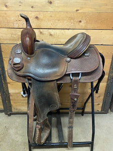 "Used. 14"" Meleta Brown by Crates Barrel Saddle"