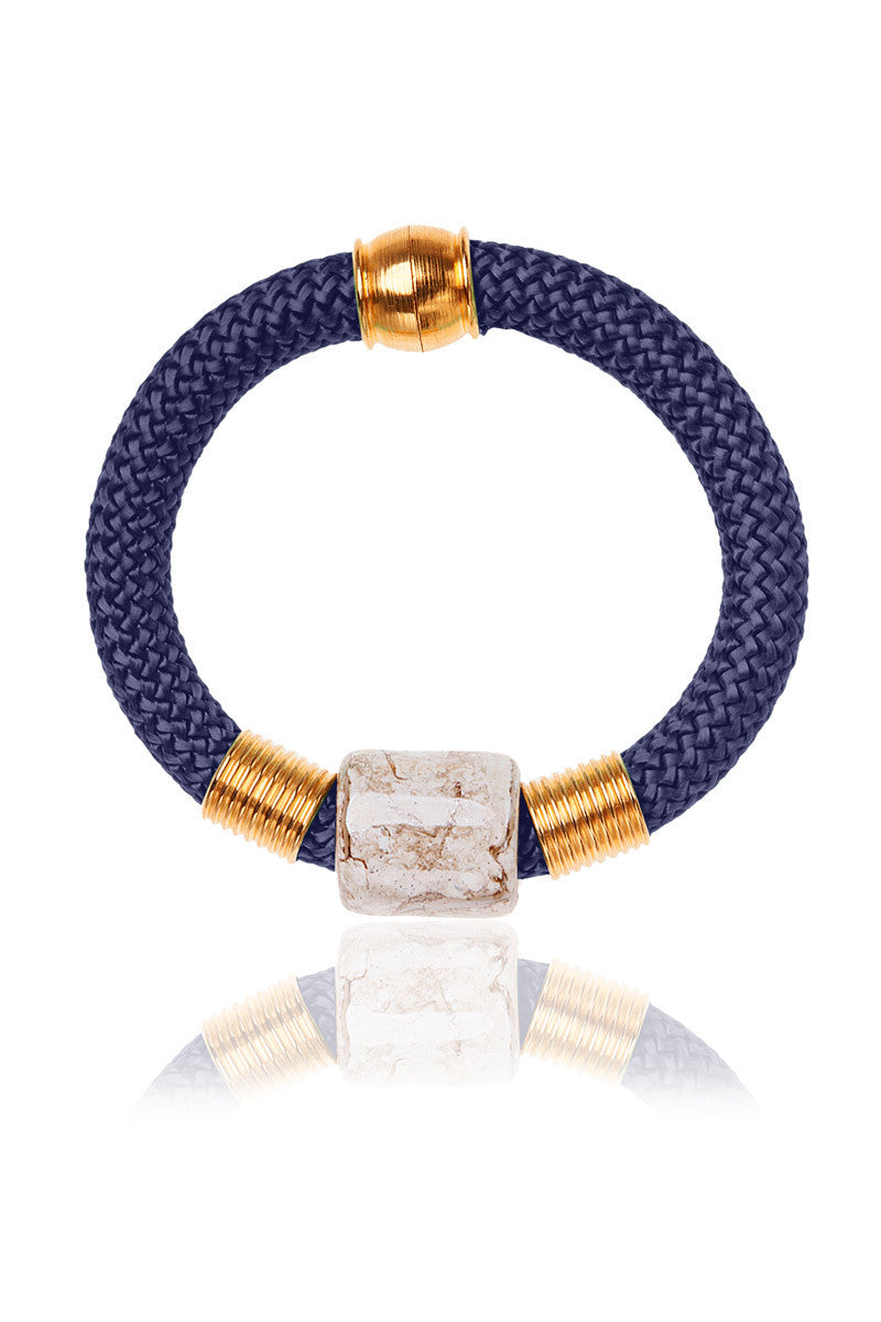 hook wrap bracelet rope in miansai product zoom mia navy rose plated and gold