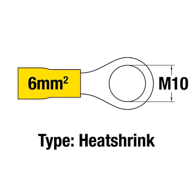 Insulated Ring Terminal YEL M10 14-10AWG 2.5-6mm2 Heatshrink