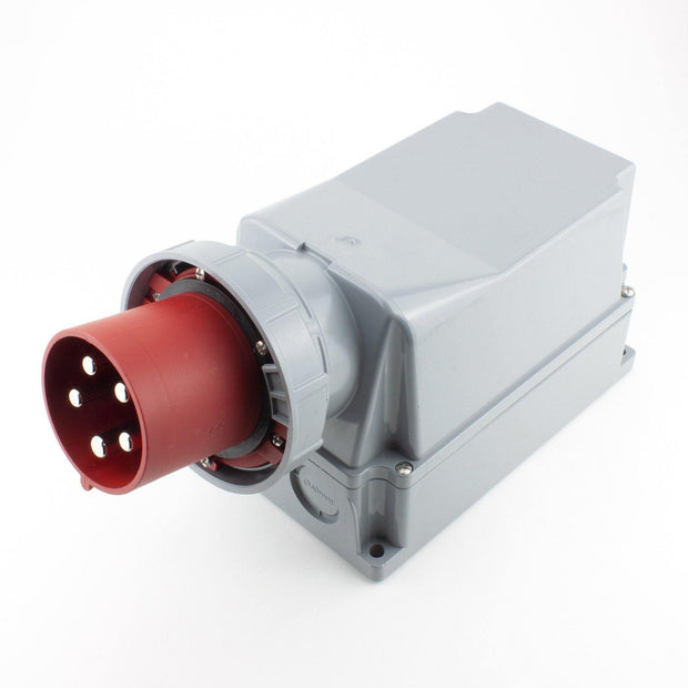 PCE CEE Wall Plug Inlet 5 way Pin-Contacts RED IP67 125A 400V