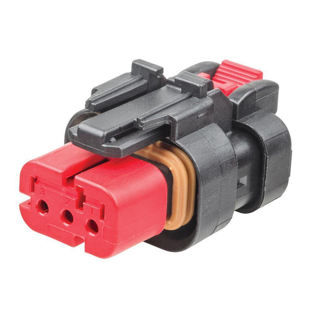 TE AMPSEAL 16 CBL Receptacle Housing 3-Way Socket-Contacts 13A BLK IP67 Red A-Key