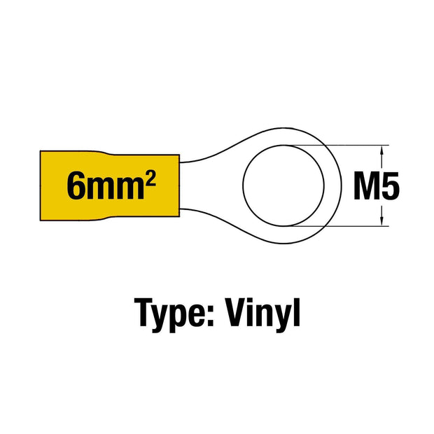 Insulated Ring Terminal YEL M5 14-10AWG 2.5-6mm2 Vinyl