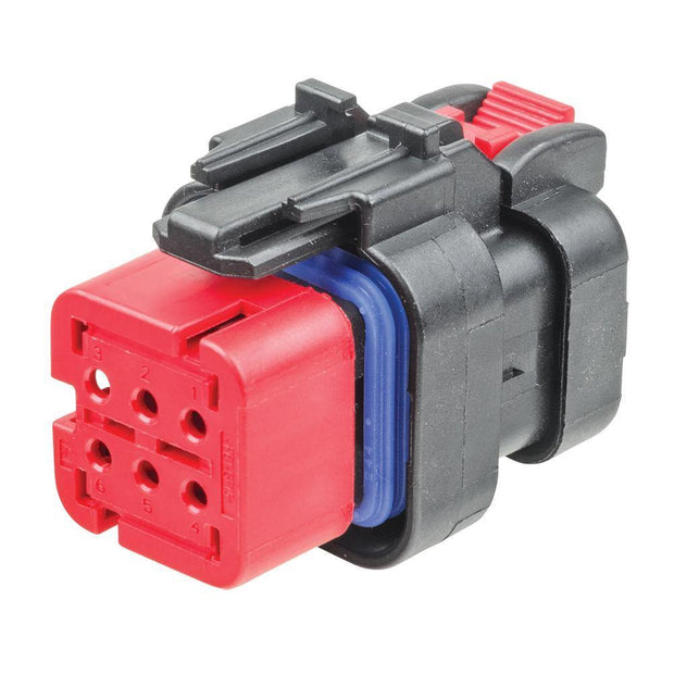 TE AMPSEAL 16 CBL Receptacle Housing 6-Way Socket-Contacts 13A BLK IP67 Red A-Key