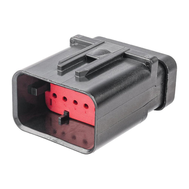 TE AMPSEAL 16 CBL Plug Housing 12-Way Pin-Contacts 13A BLK IP67 Red A-Key