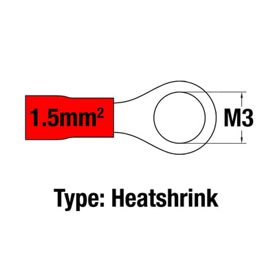Insulated Ring Terminal RED M3 22-16AWG 0.5-1.5mm2 Heatshrink