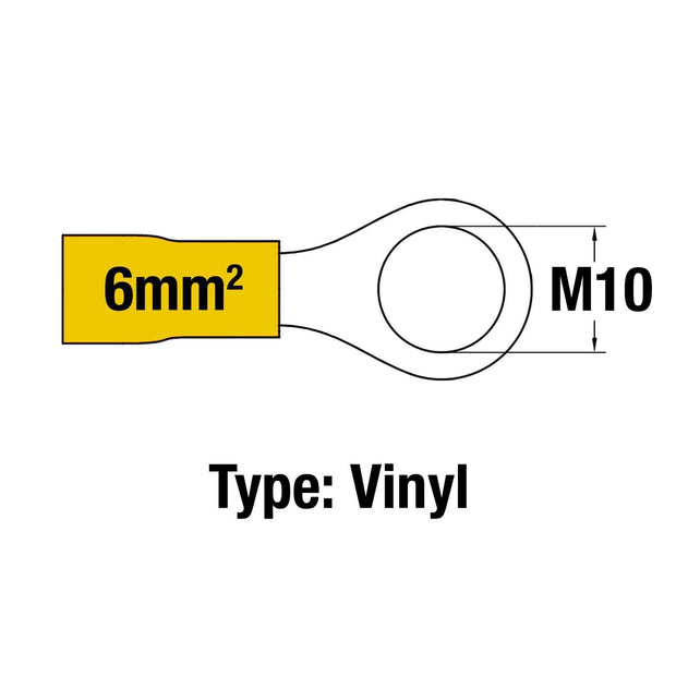 Insulated Ring Terminal YEL M10 14-10AWG 2.5-6mm2 Vinyl