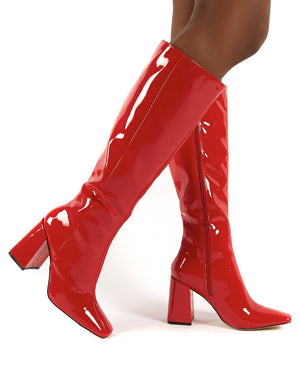 Apology Red Knee High Block Heel Boots