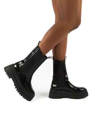 Blame Black Croc Chunky Sole Calf High Boots