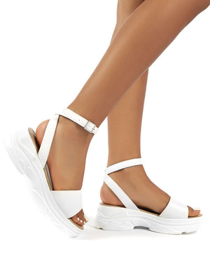 Loco White PU Strappy Chunky Sandals