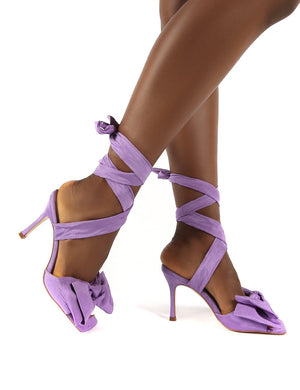 Girly Lilac Square Toe Bow Detail Lace Up Heels