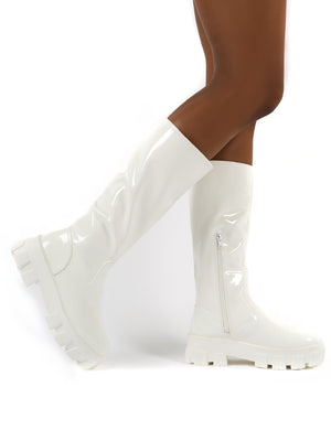 Karma White Chunky Sole Knee High Boot