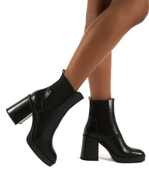 Klara Black Black Heel Ankle Boot