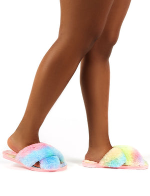 Mallow Multi Fluffy Cross Strap Slippers