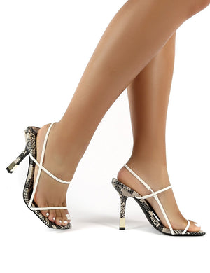 Rayelle Snake White Square Toe Strappy Gold Heels