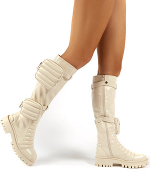 Tayla Nude Knee High Pouch Boots