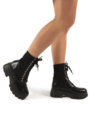 Asta Black Chunky Sole Knitted Detail Lace Up Ankle Boots