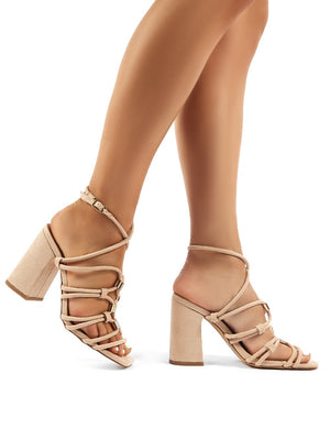 Arabella Nude Faux Suede Strappy Block High Heels