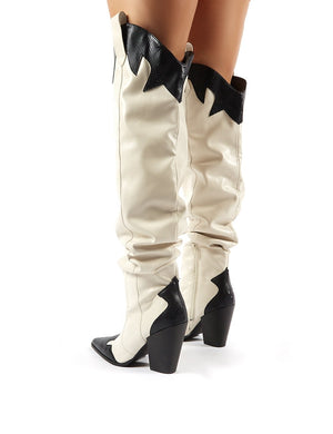 Brandy Stone Western Block Heeled Knee High Boots