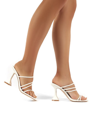 Evie White Strappy Statement High Heels