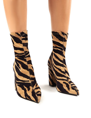Harri Tiger Print Faux Suede Heeled Sock Fit Ankle Boots
