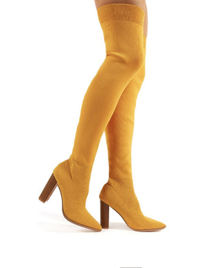 Romee Mustard Knitted Block Heeled Over the Knee Boots
