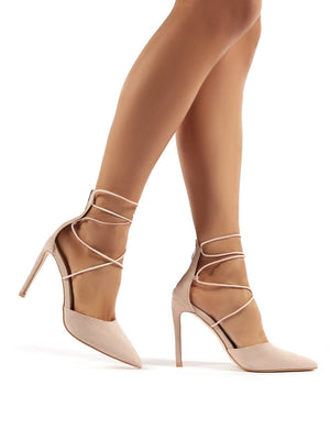 Volt Wide Fit Nude Suede Lace Up Court Heels