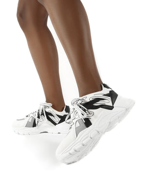 Move White Black Details Chunky Sole Trainers