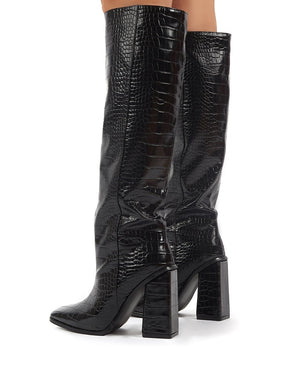 Zina Black Croc Square Toe Block Heeled Knee High Boots