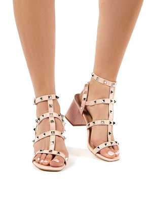 Always Pink Patent Snake Studded Mid Heel