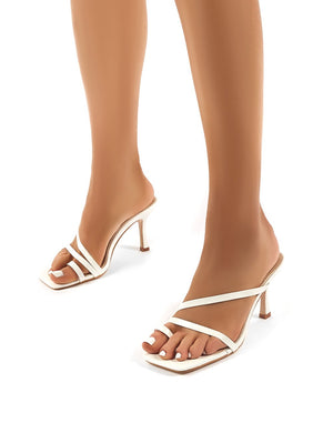 Bombshell White PU Strappy Toe Loop