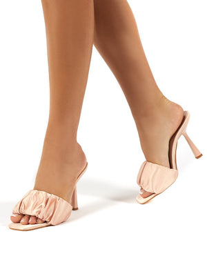 Dreamland Pink Ruched Satin Square Toe Mule