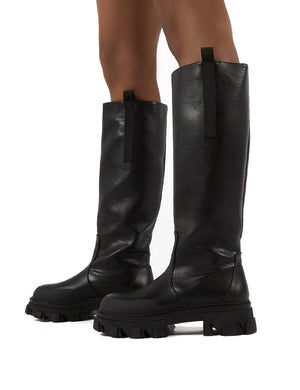 Genius Black Knee High Chunky Sole Boots